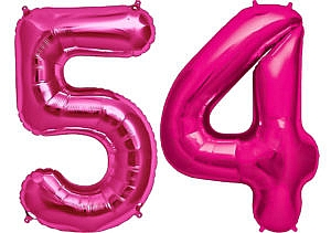 Luftballon Zahl 54 Zahlenballon pink (86 cm)