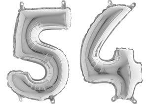 Luftballon Zahl 54 Zahlenballon silber (66 cm)