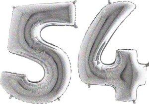 Luftballon Zahl 54 Zahlenballon silber-holographic (100 cm)