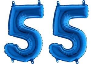 Luftballon Zahl 55 Zahlenballon blau (66 cm)