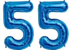 Luftballon Zahl 55 Zahlenballon blau (86 cm)