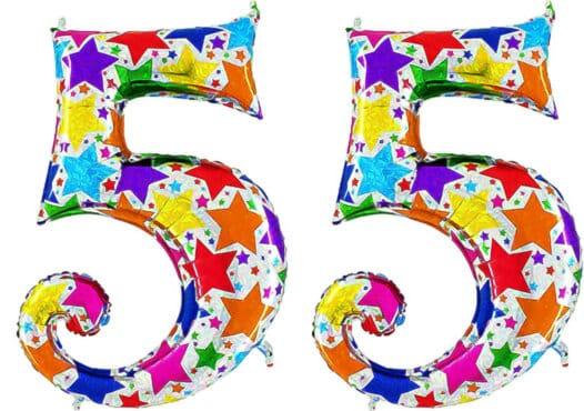 Luftballon Zahl 55 Zahlenballon silber mit bunten Sternen (100 cm)