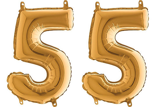 Luftballon Zahl 55 Zahlenballon gold (66 cm)