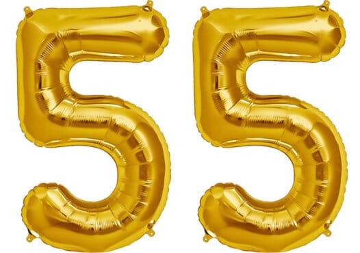 Luftballon Zahl 55 Zahlenballon gold (86 cm)