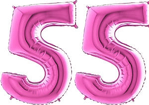 Luftballon Zahl 55 Zahlenballon pink (66 cm)