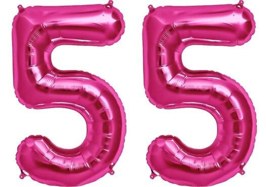 Luftballon Zahl 55 Zahlenballon pink (86 cm)