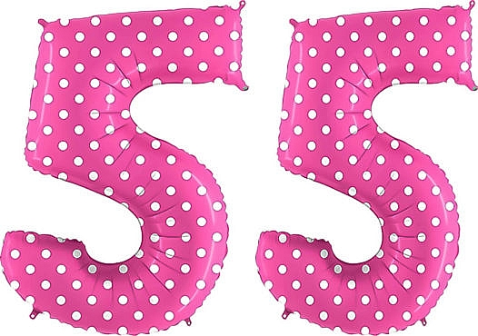 Luftballon Zahl 55 Zahlenballon pink mit weißen Punkten (100 cm)