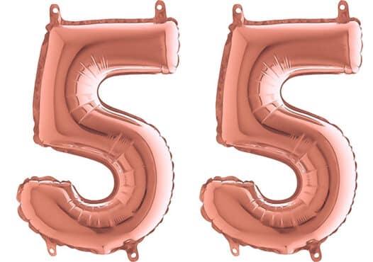 Luftballon Zahl 55 Zahlenballon rosegold (66 cm)