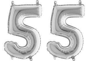 Luftballon Zahl 55 Zahlenballon silber (66 cm)