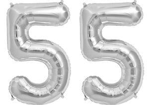 Luftballon Zahl 55 Zahlenballon silber (86 cm)