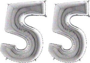 Luftballon Zahl 55 Zahlenballon silber-holographic (100 cm)