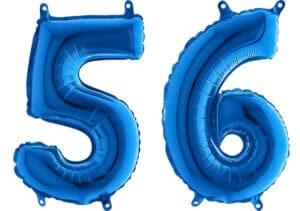 Luftballon Zahl 56 Zahlenballon blau (66 cm)