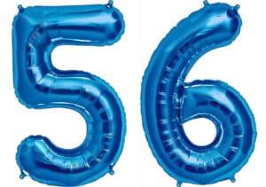 Luftballon Zahl 56 Zahlenballon blau (86 cm)