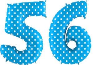 Luftballon Zahl 56 Zahlenballon blau mit weißen Punkten (100 cm)