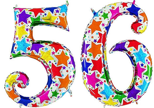 Luftballon Zahl 56 Zahlenballon silber mit bunten Sternen (100 cm)