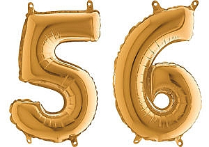 Luftballon Zahl 56 Zahlenballon gold (66 cm)