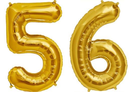 Luftballon Zahl 56 Zahlenballon gold (86 cm)