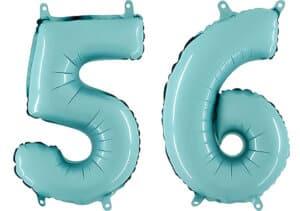 Luftballon Zahl 56 Zahlenballon pastell-blau (100 cm)