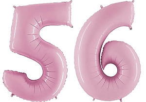 Luftballon Zahl 56 Zahlenballon pastell-pink (100 cm)
