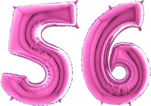 Luftballon Zahl 56 Zahlenballon pink (66 cm)
