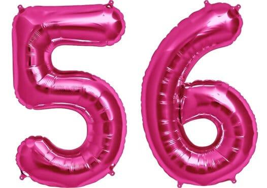 Luftballon Zahl 56 Zahlenballon pink (86 cm)