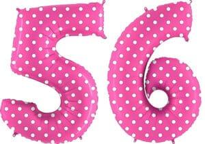 Luftballon Zahl 56 Zahlenballon pink mit weißen Punkten (100 cm)