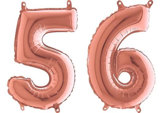 Luftballon Zahl 56 Zahlenballon rosegold (66 cm)