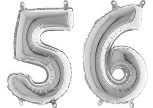 Luftballon Zahl 56 Zahlenballon silber (66 cm)