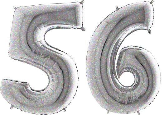 Luftballon Zahl 56 Zahlenballon silber-holographic (100 cm)