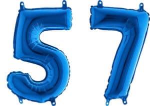 Luftballon Zahl 57 Zahlenballon blau (66 cm)