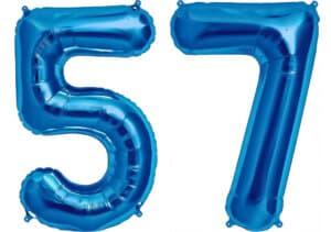 Luftballon Zahl 57 Zahlenballon blau (86 cm)