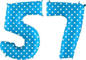 Luftballon Zahl 57 Zahlenballon blau mit weißen Punkten (100 cm)
