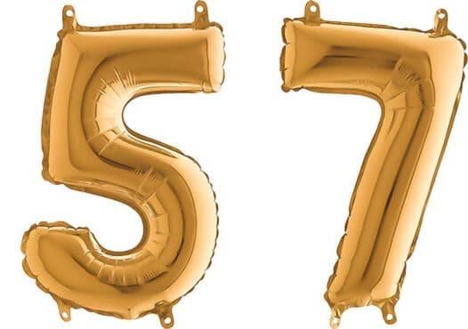 Luftballon Zahl 57 Zahlenballon gold (66 cm)