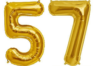Luftballon Zahl 57 Zahlenballon gold (86 cm)