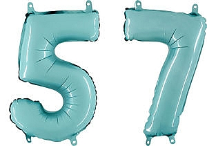 Luftballon Zahl 57 Zahlenballon pastell-blau (100 cm)