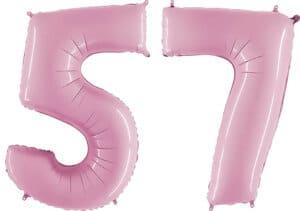 Luftballon Zahl 57 Zahlenballon pastell-pink (100 cm)