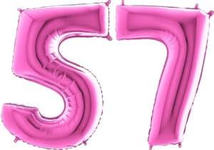 Luftballon Zahl 57 Zahlenballon pink (66 cm)