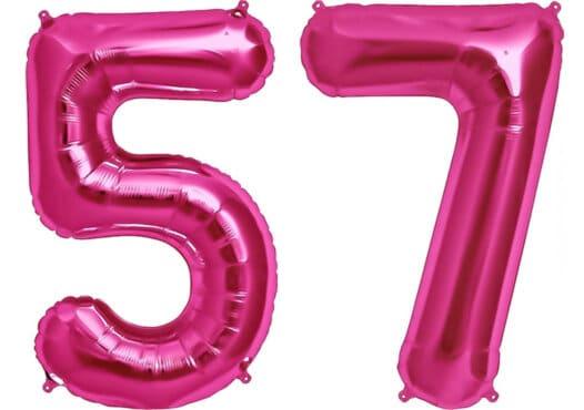 Luftballon Zahl 57 Zahlenballon pink (86 cm)