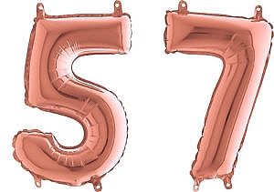 Luftballon Zahl 57 Zahlenballon rosegold (66 cm)
