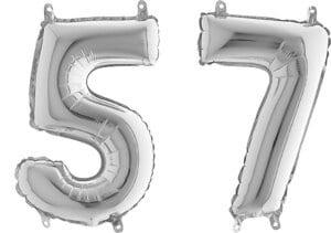 Luftballon Zahl 57 Zahlenballon silber (66 cm)
