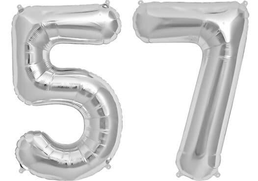 Luftballon Zahl 57 Zahlenballon silber (86 cm)