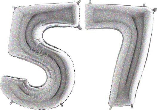 Luftballon Zahl 57 Zahlenballon silber-holographic (100 cm)