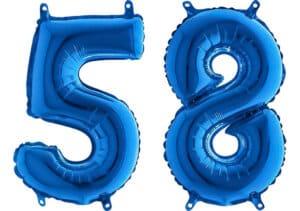 Luftballon Zahl 58 Zahlenballon blau (66 cm)