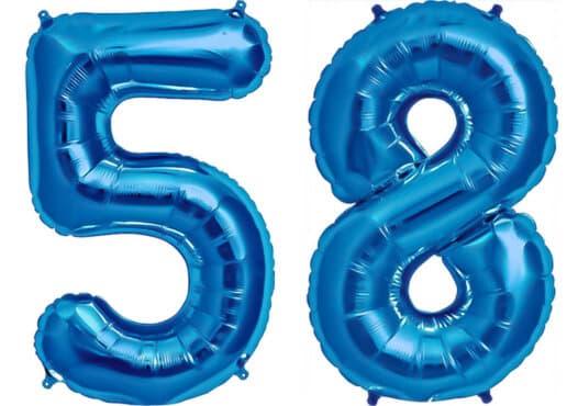 Luftballon Zahl 58 Zahlenballon blau (86 cm)