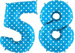 Luftballon Zahl 58 Zahlenballon blau mit weißen Punkten (100 cm)