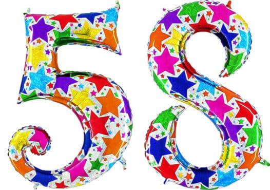 Luftballon Zahl 58 Zahlenballon silber mit bunten Sternen (100 cm)
