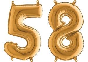 Luftballon Zahl 58 Zahlenballon gold (66 cm)