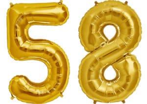 Luftballon Zahl 58 Zahlenballon gold (86 cm)