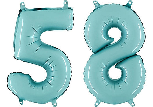 Luftballon Zahl 58 Zahlenballon pastell-blau (100 cm)
