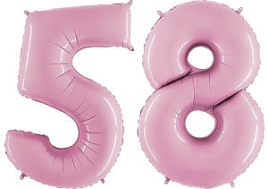 Luftballon Zahl 58 Zahlenballon pastell-pink (100 cm)